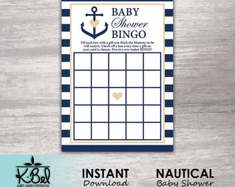 Nautical themed Baby Shower Bingo - Baby Shower Games - Blue Stripes and Anchor - Instant Download / Digital Download / Printable