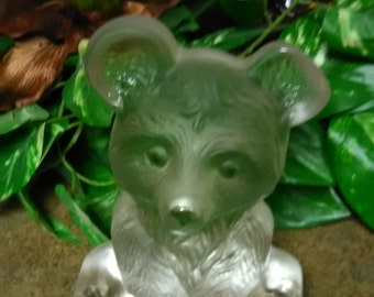 Vintage Viking Art Glass Bear Bookend  Paperweight