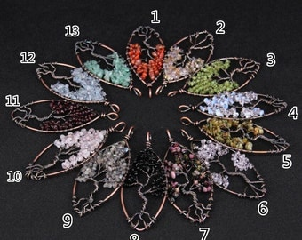 Wholesale Bulk Fashion Tree of Life Leaf Pendants Findings,Natural Gemstones Chip Beads,Wire Wrapped Gun Bronze Plated Nugget Craft Necklace
