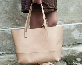 NUBRA / Color Beige/ Shopper Bag /Shoulder bag /classic tote bag /Leather Tote Bag /Leather Tote / fullgrain leather tote bag
