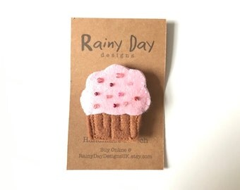 Handmade Pink Cupcake Brooch