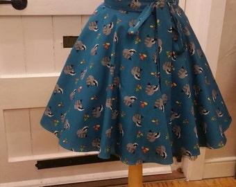 Raccoon, teal, 1950s, full circle skirt, novelty skirt,  retro skirt, rockabilly skirt, circle skirt, cotton skirt, made to order