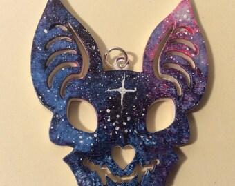Indigo Galaxy bat necklace