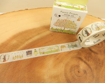 Forest Washi Tape, Woodland Japanese Tape, Planner Decal, 15mm Tape