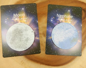 Space Post It Notes, Space Stationery, Moon, Neptune,  Planet Sticky Notes, Space Theme