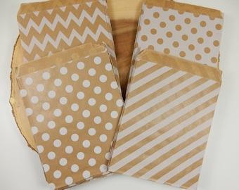 Kraft Paper Bags, Pack of 25, Sweet Bags, Geometric Bitty Bags, Wedding Favour Bags, Rustic Wedding