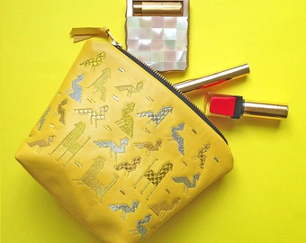 The 'Becher' Gold and Silver Embroidered Yellow Lamb's Leather Make Up Bag