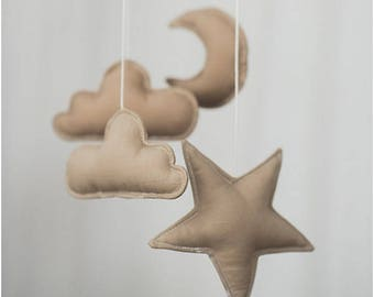 Brown nursery mobile, baby mobiles hanging, baby nursery decor, cloud mobile, star mobile, moon mobile
