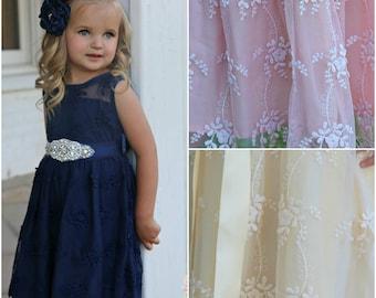 Navy Blue Flower Girl Dress,Navy Lace Girl Dress, rustic Flower Girl Dress,Flower Girl Dresses country,Junior Bridesmaid Dress,baby dress