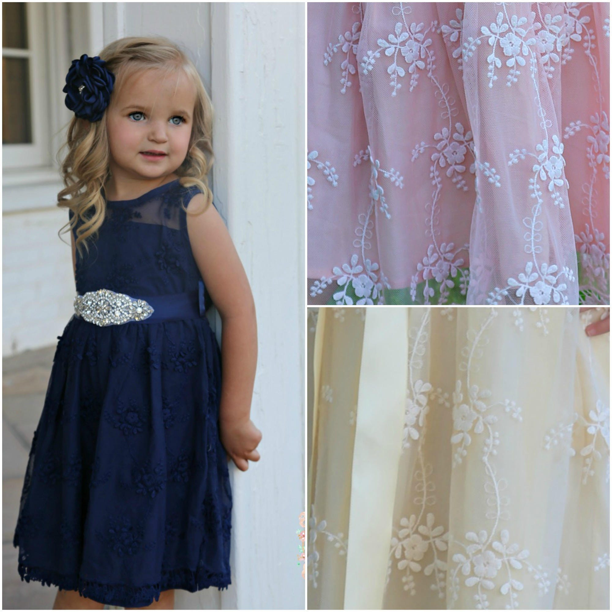 Navy blue flower girl dressnavy lace girl dress rustic zoom ombrellifo Choice Image