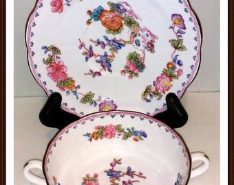 Spode Vintage Bouillon Bowl with Plate Bone China England Vielle France