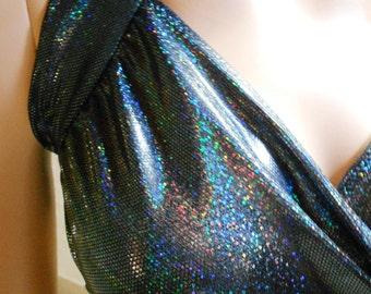 Bandage wrap top blouse bikini swimsuit fabric Lycra bodice black hologram Rainbow pole dance lingerie lingerie stretch size 36-42