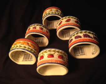 New In-Box Set of 6 Colorful Hand-Painted Pottery Napkin Rings Imported From Phillippines