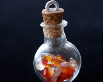 Mini Potion Bottle with Orange-Red Stones