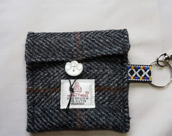 Harris Tweed Doggy Poo Bag Keyring Pouch (free P&P)