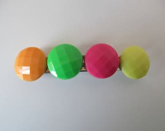 Neon Colored Button Barrette, Birthday Gifts, Gifts for her, Gifts for girls, Button Barrettes, Hair Accessories, Hair Clip