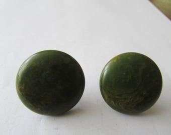 Vintage Pair Green Bakelite Earrings Screwback