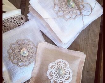 Linen and Vintage Crocheted Motif Lavender Sachets