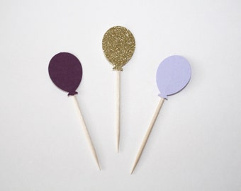 Purple and Gold Glitter Balloon Cupcake Toppers. Purple and Gold Decor. Cupcake Toppers. Cupcake Decor. Girl Birthday Party Decor.
