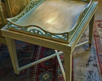 SOLD - Custom Painted Vintage Coffee Table W/Serving Tray