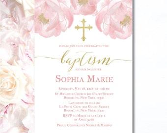 Girl Baptism Invitation | Floral Christening Invitation | Gold & Pink Baptism Invitation | Affordable Printed Invitations | C02G