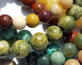 Rainforest Rhyolite, Big Hole Beads, 8mm Round Beads, 8 inch strand