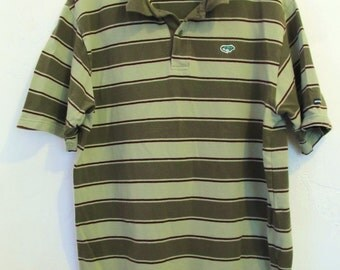 25% 0FF SalE!!A Men's PREPPY Vintage 90's,Green Short Sleeve Striped Polo Shirt By IGUANA DON.L