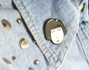 Pin's - Women's Face - Pin's drawing - Pin - Pin's Pin - Vintage Style Pin - Pin's Object - Badges - Patch