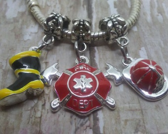 Fireman, Firefighter Charms, Pandora style charms,Fire Hat, Fire Boot, Maltese Cross , Fits Chamilia, Biagi charm bracelet