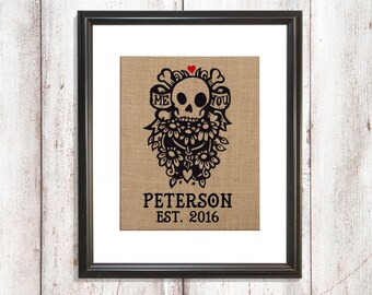 Skull Burlap Print, Goth Family Established Date, Halloween Wedding Gift, Goth Couple Gift, Goth Engagement Gift, Halloween Anniversary Gift