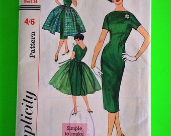"Vintage 50s wiggle Dress & overskirt, Unused, F/F, Factory Pre Cut, Bust 36"", Simplicity 2602."
