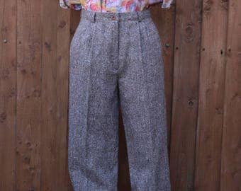 High Waisted Fleck Tweed Trousers