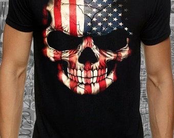 Cool #fashion #american #flag #skull #print on #black #lose or #tight  #fit #cotton #men #women #t-shirt #available big sizes  #DreamTEE