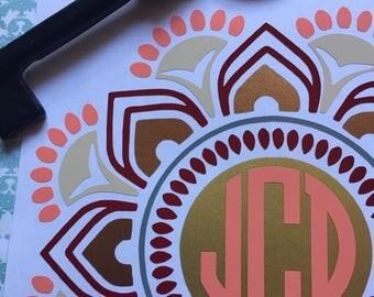 Mandala flower monogram decal