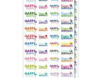 Happy Birthday Stickers, Birthday Party Stickers, Stickers for Planners, Notebooks and Scrapbooking