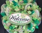 St. Patricks day wreath - st. Patricks day decor - st. Patricks day - st patricks door - spring wreath - st partricks burlap wreath - burlap