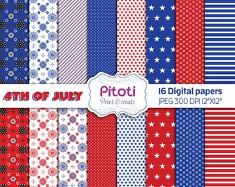 4th of July Digital Paper Pack, Independence Day Paper, American Patriotic Scrapbook Paper, July 4th, American Flag Patriotic digital papers