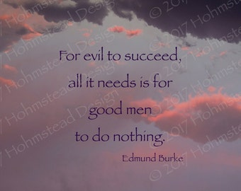 Edmund Burke: For evil to succeed, all it needs is for good men to do nothing.