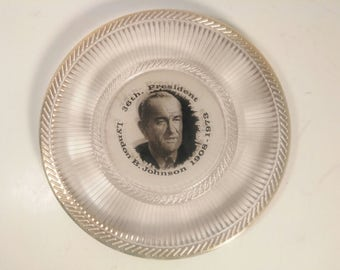 Vintage 36th President Lyndon B. Johnson Glass Wall Plate