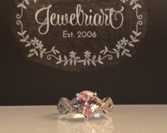 Sale Handmade Gemstone Ring/Handmade Lab Pink Topaz and Sterling Silver Ring/Free Shipping in the US./Limited Time Sale Pricing on this Item