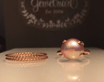 Rose Gold Pearl Ring Set/Blush Gold Pearl Ring/Pink Pearl Ring/Solitare Pearl Ring/Blush Pearl Ring./Baroque Pearl Ring/June's Birthstone/