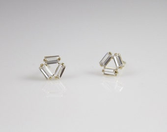 14k solid gold cz stud Earrings, 14k dainty earrings, 14K everyday earrings, tiny cz earrings, triple cz earrings,minimalist stud,rectangle