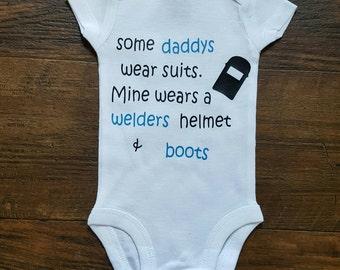 Welder onesie, welder helmet and boots. Baby girl onesie, baby boy onesie  vinyl onesie, personalized onesie