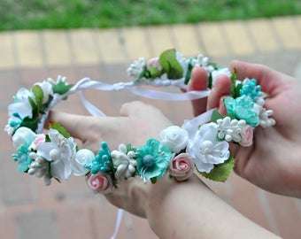 Wedding flower crown Floral crown Flower hair wreath Bridal Flower crown Flower Crown Wedding floral crown Floral Halo Ready to ship LV12