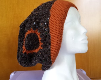 Woolen hat oversized brown / orange