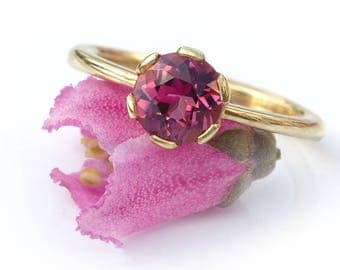 Pink Tourmaline Ring | Ethical 18k Yellow or White Gold | Handmade to Size in the UK