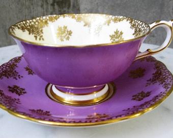 Paragon Fine Bone China England Purple Gold Vintage Filigree