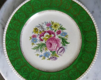 Ambassador Ware England Athlone 608 Vintage China Green Gold Filigree Floral