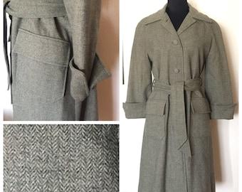 Original Vintage 40's/50's Herringbone Wool Women's Swing Coat, 40's Twill Swing Coat, 50's Women's Coat, 40's WWII Coat, Size: Large