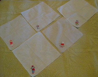 Child's Set of Vintage Embroidered Handkerchiefs